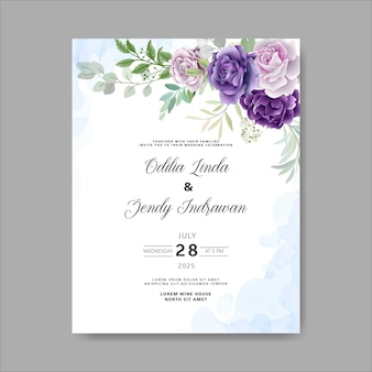 Convite de casamento bonito e elegante de flores e folhas