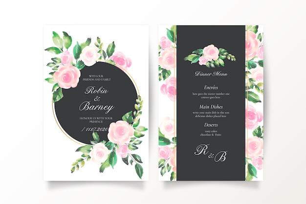 Convite de casamento bonito e modelo de menu