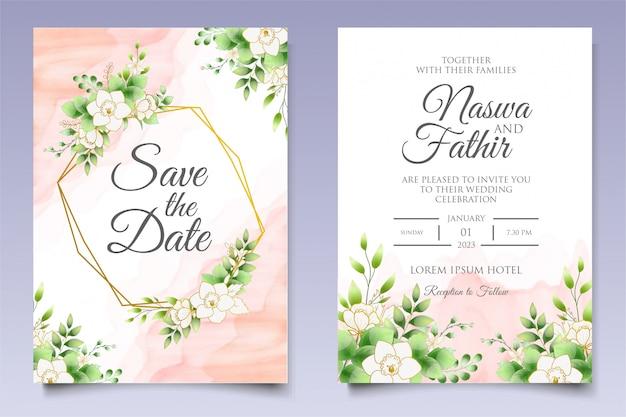 Convite de casamento bonito floral e modelo de cartão de folhas