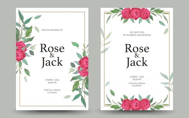 Convite de casamento bonito ou cartão com design floral.