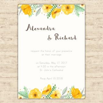 Convite de casamento brilhante com pintados à mão flores amarelas