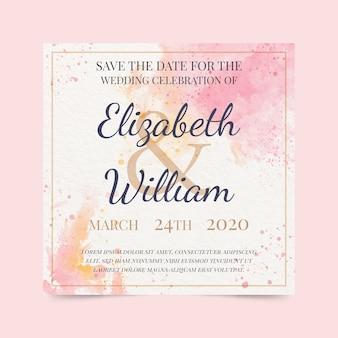 Convite de casamento caligráfico com manchas de aquarela