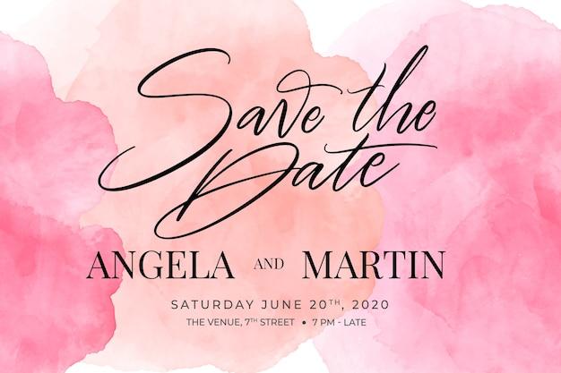 Convite de casamento caligráfico com modelo de manchas de aquarela