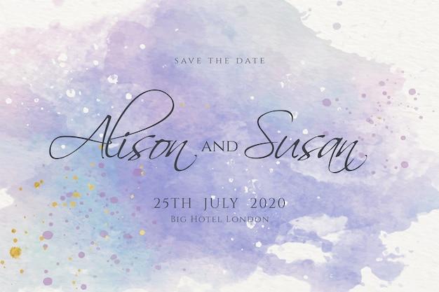 Convite de casamento caligráfico de manchas de aquarela