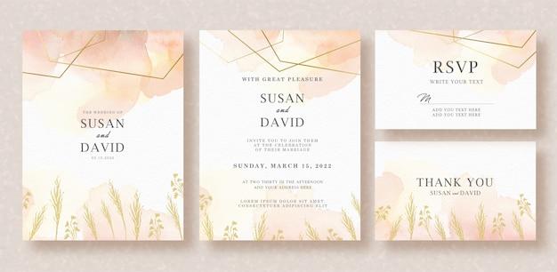 Convite de casamento cartão com foliages e splash aquarela