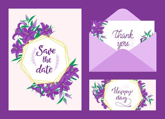 Convite de casamento, cartão de agradecimento e cartão de feliz dia
