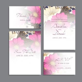 Convite de casamento, cartão de agradecimento, salve o cartão de data.