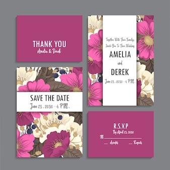 Convite de casamento, cartão de agradecimento, salve os cartões de data.