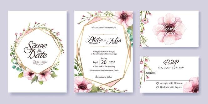 Convite de casamento, cartão de rsvp. estilo da aguarela. vetor.