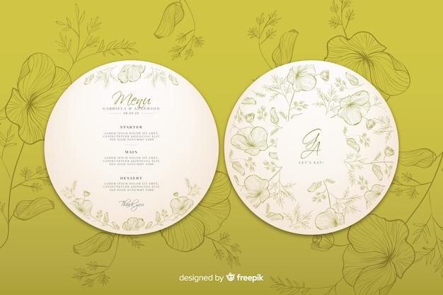 Convite de casamento circular com flores de mão desenhada