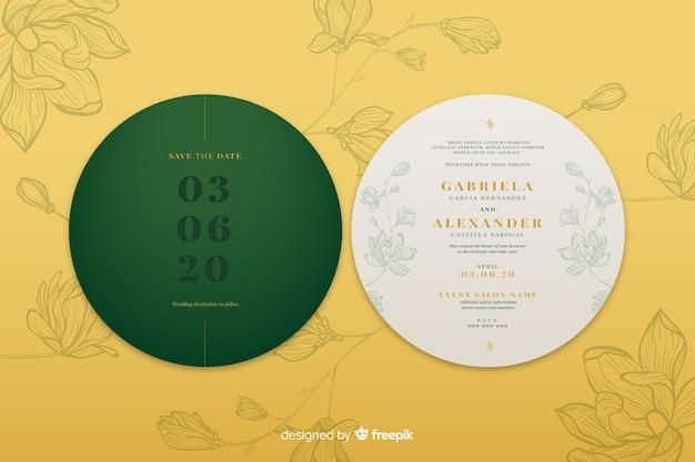 Convite de casamento circular de design simples