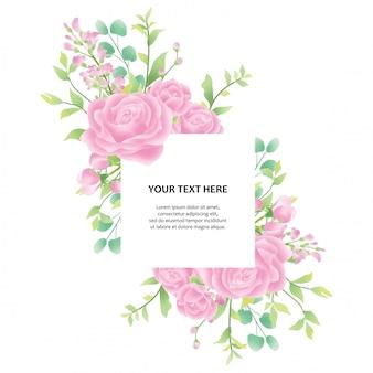 Convite de casamento colorido com moldura floral aquarela