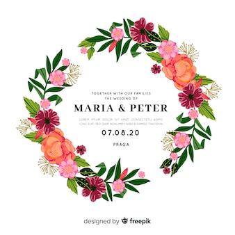 Convite de casamento colorido com moldura floral