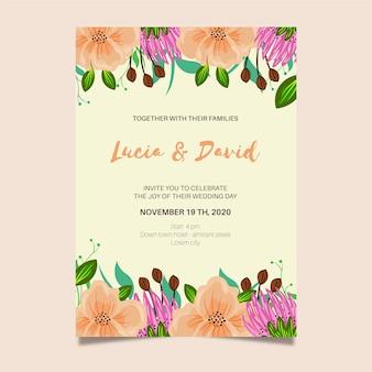 Convite de casamento colorido desenhado à mão