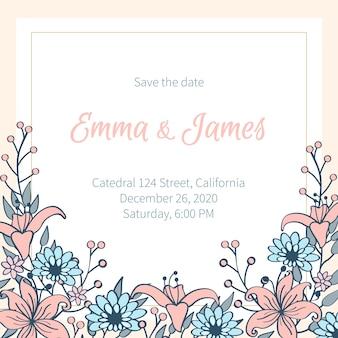 Convite de casamento colorido desenhado de mão