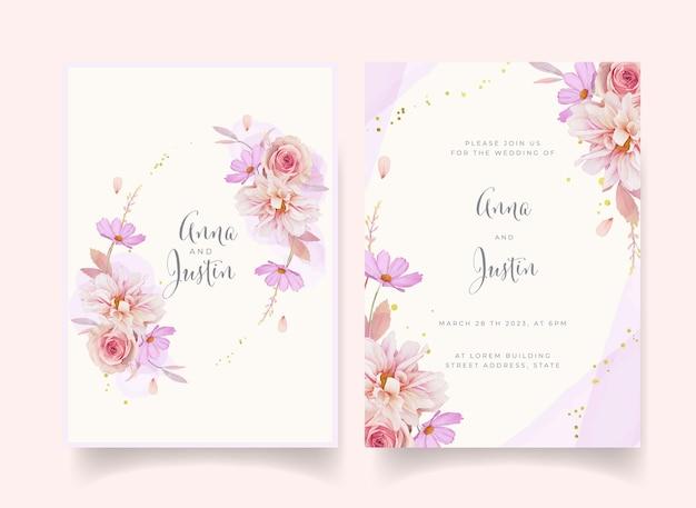 Convite de casamento com aquarela dália rosa e flor de ranúnculo