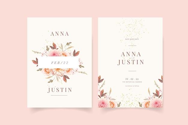 Convite de casamento com aquarela dálias e rosa