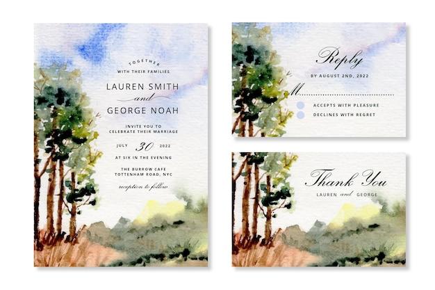 Convite de casamento com aquarela de árvores de paisagem