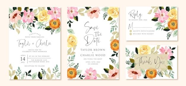 Convite de casamento com aquarela de flor rosa amarela