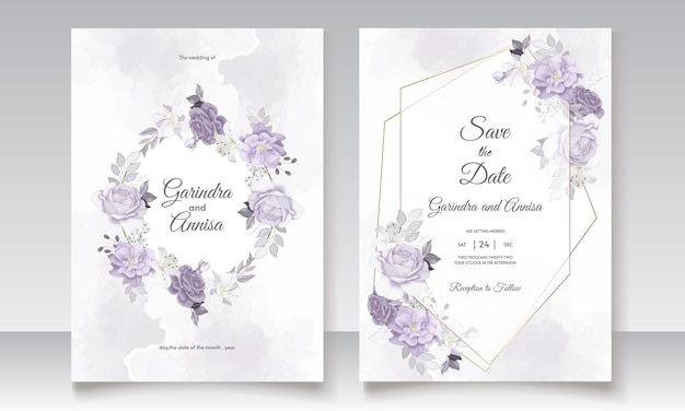 Convite de casamento com aquarela de folhas florais brancas e roxas