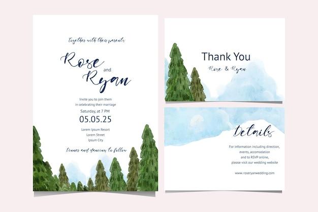 Convite de casamento com aquarela de paisagem