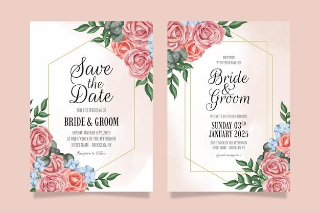 Convite de casamento com aquarela design floral