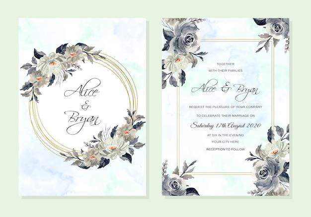 Convite de casamento com aquarela floral abstrato