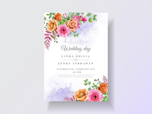 Convite de casamento com aquarela floral linda