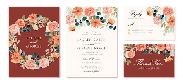Convite de casamento com aquarela floral pêssego rústico