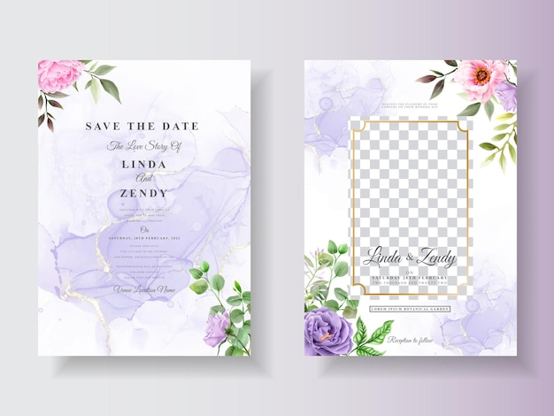 Convite de casamento com aquarela floral romantica