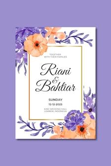 Convite de casamento com aquarela flores roxas laranja