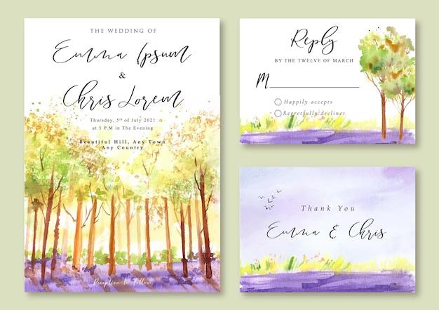 Convite de casamento com aquarela paisagem de árvores amarelas e campo de lavanda
