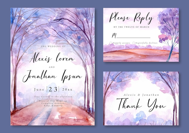 Convite de casamento com aquarela paisagem de árvores de lavanda