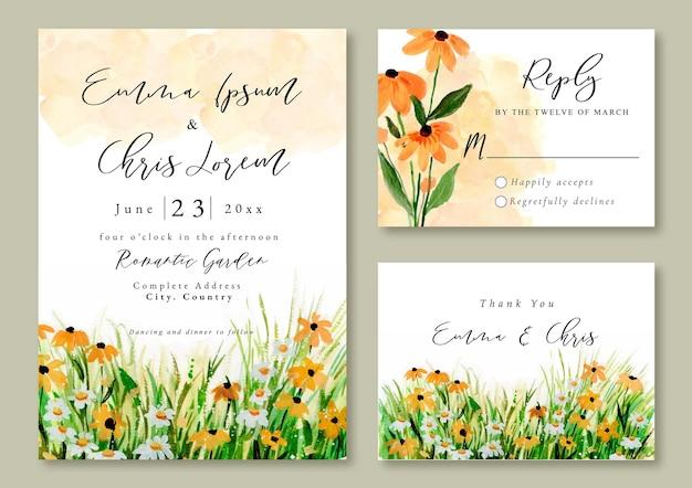 Convite de casamento com aquarela paisagem de flores silvestres amarelas e grama