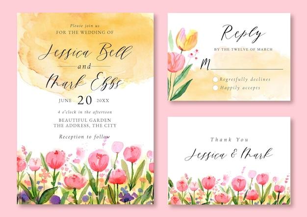 Convite de casamento com aquarela paisagem de tulipa rosa