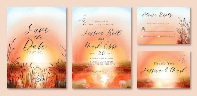 Convite de casamento com aquarela paisagem do pôr do sol no lago