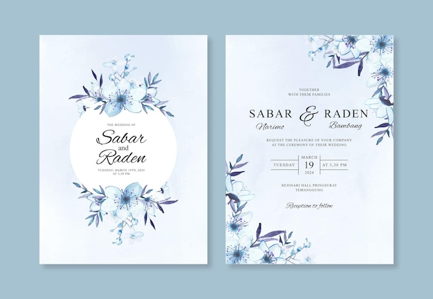 Convite de casamento com aquarela pintada à mão com flores