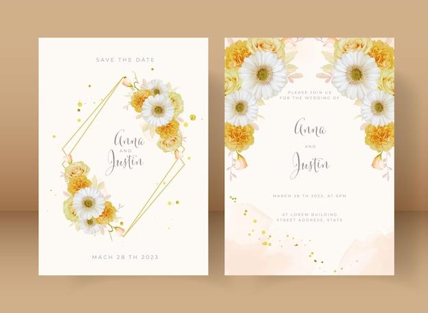 Convite de casamento com aquarela rosa amarela e flor gerbera branca