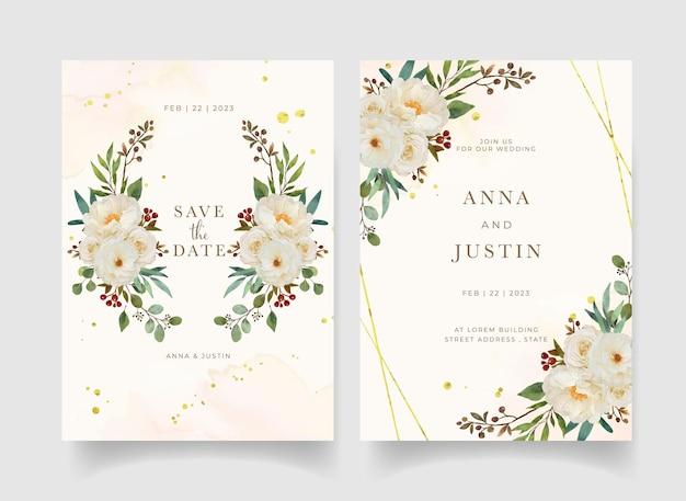 Convite de casamento com aquarela rosa branca e flor de peônia