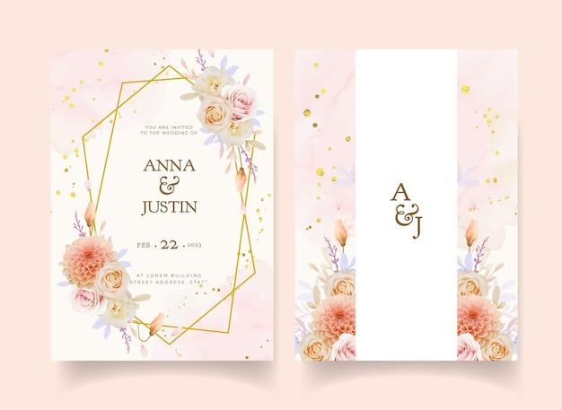 Convite de casamento com aquarela rosa e flor dália
