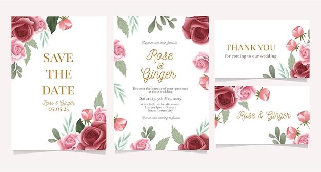 Convite de casamento com aquarela rosa jardim de flores