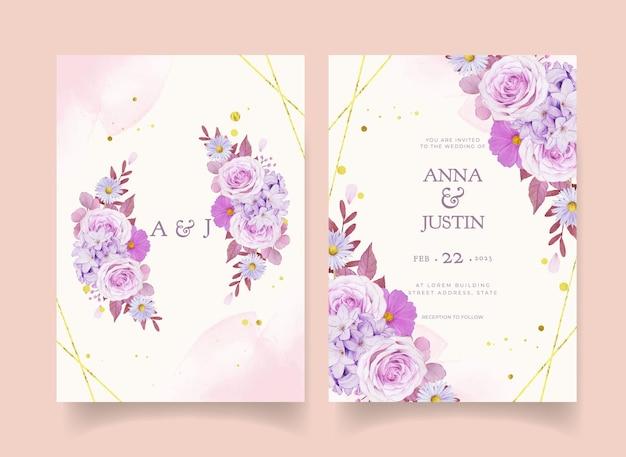 Convite de casamento com aquarela rosa roxa