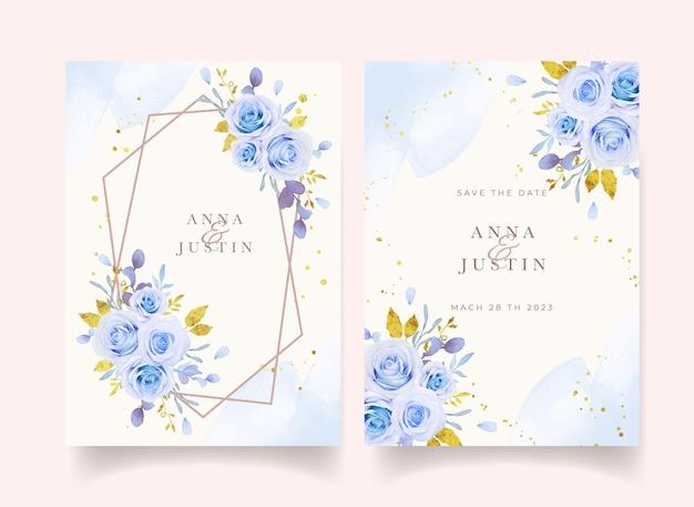 Convite de casamento com aquarela rosas azuis