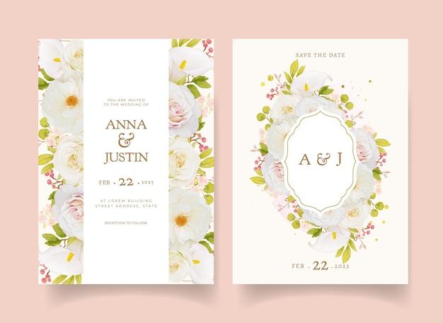 Convite de casamento com aquarela rosas brancas e copo de leite Vetor Premium