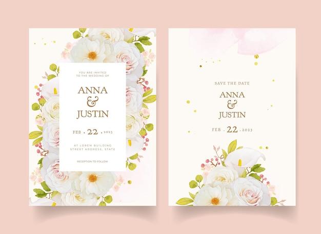 Convite de casamento com aquarela rosas brancas e copo de leite