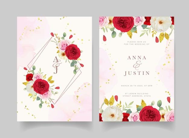 Convite de casamento com aquarela rosas brancas e vermelhas