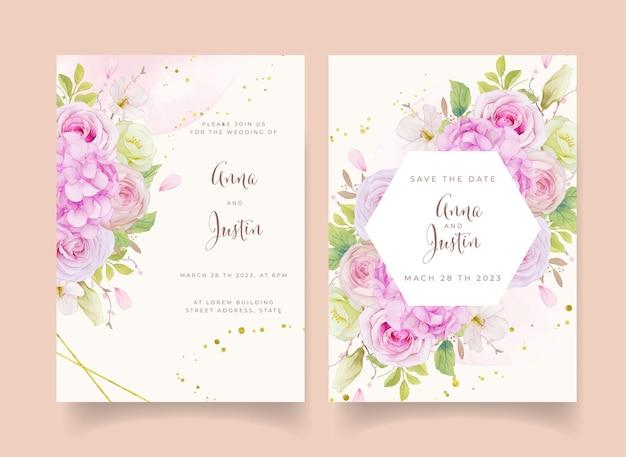 Convite de casamento com aquarela rosas cor de rosa e flor de hortênsia
