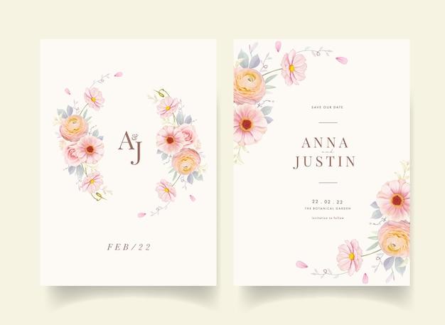 Convite de casamento com aquarela rosas cor de rosa e flor de ranúnculo