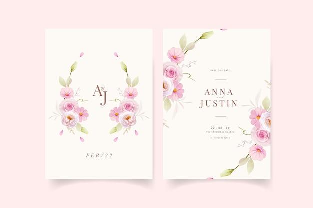Convite de casamento com aquarela rosas cor de rosa