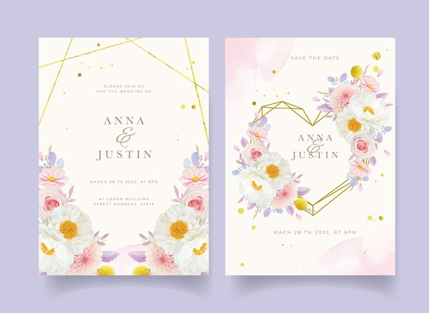 Convite de casamento com aquarela rosas dália e flor de peônia